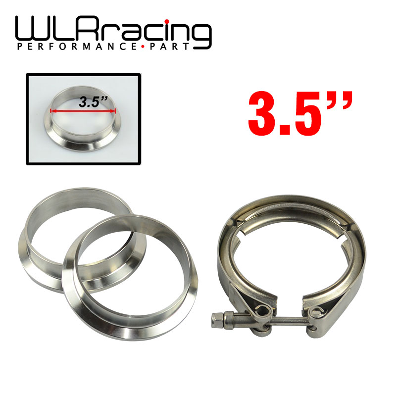 WLR RACING - 3.5 V-Band clamp flange Kit (Stainless Steel 304 Clamp+SUS304 Flange) For turbo exhaust downpipe