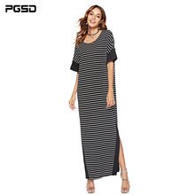 PGSD Summer Simple casual Pullover Short sleeve round collar loose Stripe stitching Side fork Long dress Fashion women clothes