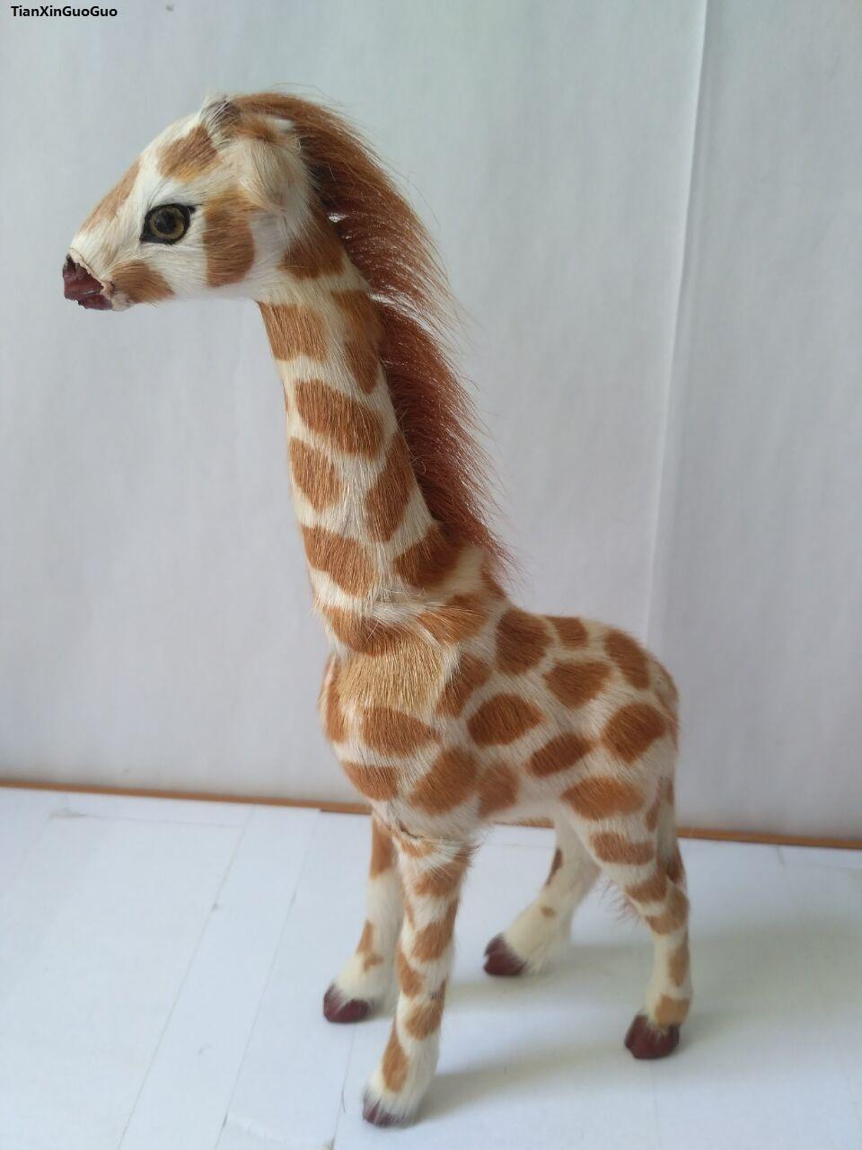 about 12x5x20cm simulation giraffe hard model prop polyethylene&furs giraffe handicraft toy decoration gift s1593