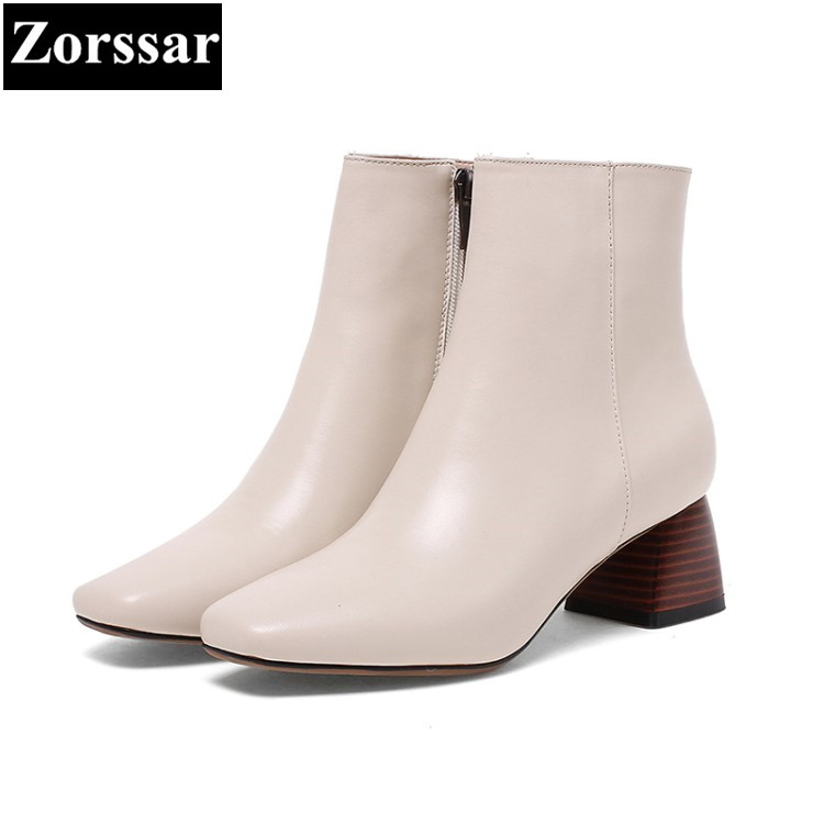 {Zorssar} 2017 NEW fashion High heels Women Chelsea Boots Square Toe thick heel ankle Riding boots autumn winter female shoes new arrival superstar genuine leather chelsea boots women round toe solid thick heel runway model nude zipper mid calf boots l63
