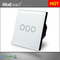Best Selling Wallpad Luxury Touch Crystal Glass 3 Gang 1 Way EU UK Standard White Touch