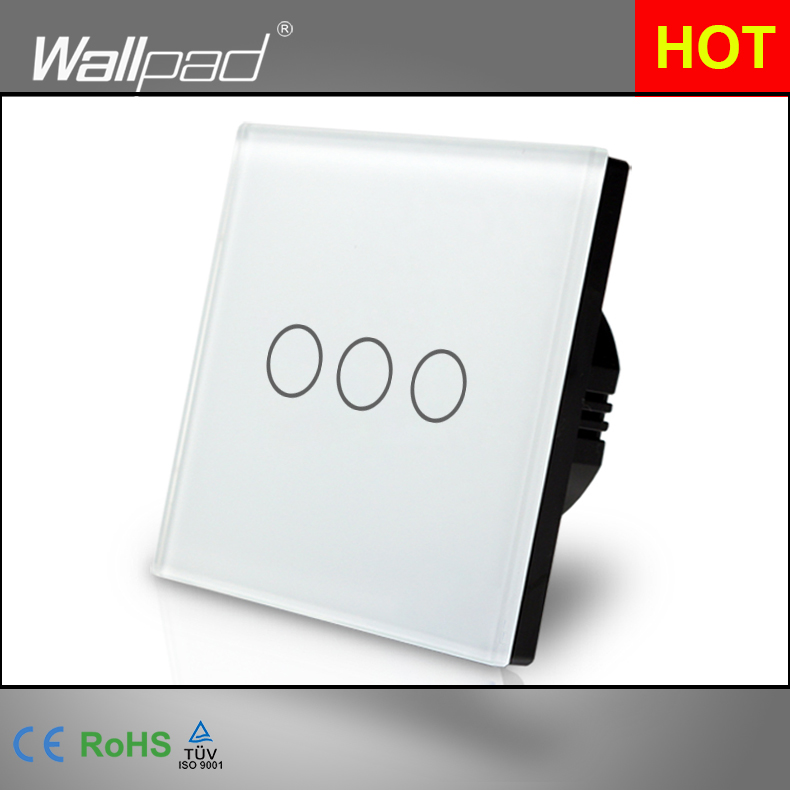 Best Selling Wallpad Luxury Touch Crystal Glass 3 Gang 1 Way EU UK Standard White Touch Sensor Light Switch Panel Free Shipping smart home eu touch switch wireless remote control wall touch switch 3 gang 1 way white crystal glass panel waterproof power