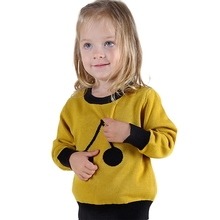 Baby Girls Sweater Knitted Pullovers 2016 New Arrival Cotton Outwear Autumn Winter Kids Clothing Black Yellow For 12M-5Y GW34