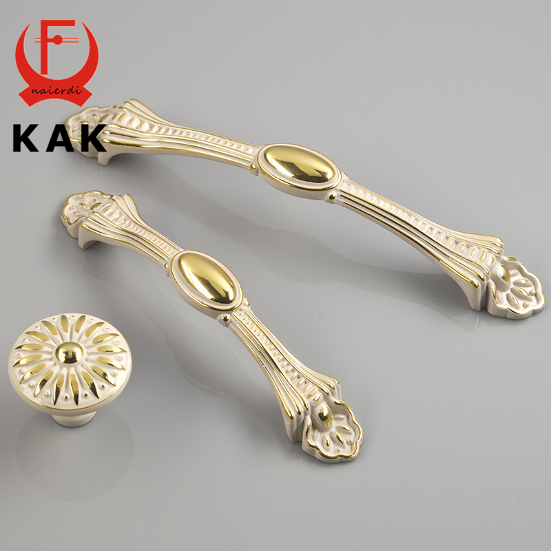 KAK European style Gold Ivory Zinc Alloy Wardrobe Door Handles Cabinet Drawer Knobs 96mm 128mm single hole Furniture Hardware furniture drawer handles wardrobe door handle and knobs cabinet kitchen hardware pull gold silver long hole spacing c c 96 224mm
