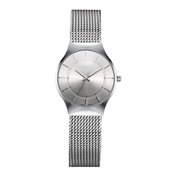 Julius JA-577 feminino ultra fino prata preto mesh aço inoxidável quartzo analógico moda casual relógio de pulso feminino