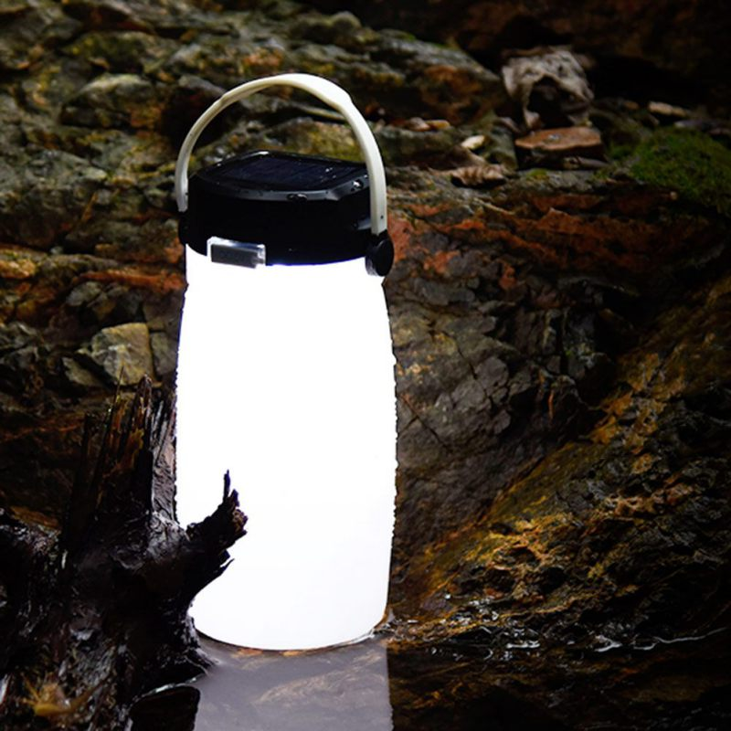 Outdoor Portable Cup Leak Proof Creative Sports Kettle Solar Charging Camping Lamp