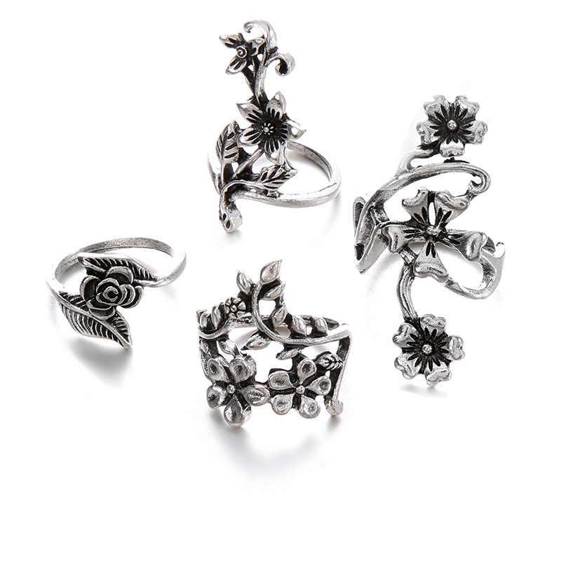 G008 хит, 4 шт., винтажные кольца на кончик пальца для женщин, очаровательный турецкий большой лепесток цветка розы, кольцо на палец средней длины, набор, ювелирные изделия в стиле бохо, панк, 2018