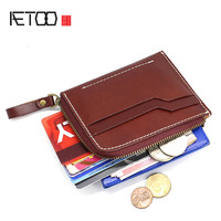 Original vegetable tanned leather coin purse female literary fan sewing thread hit color card package driver's license zipper