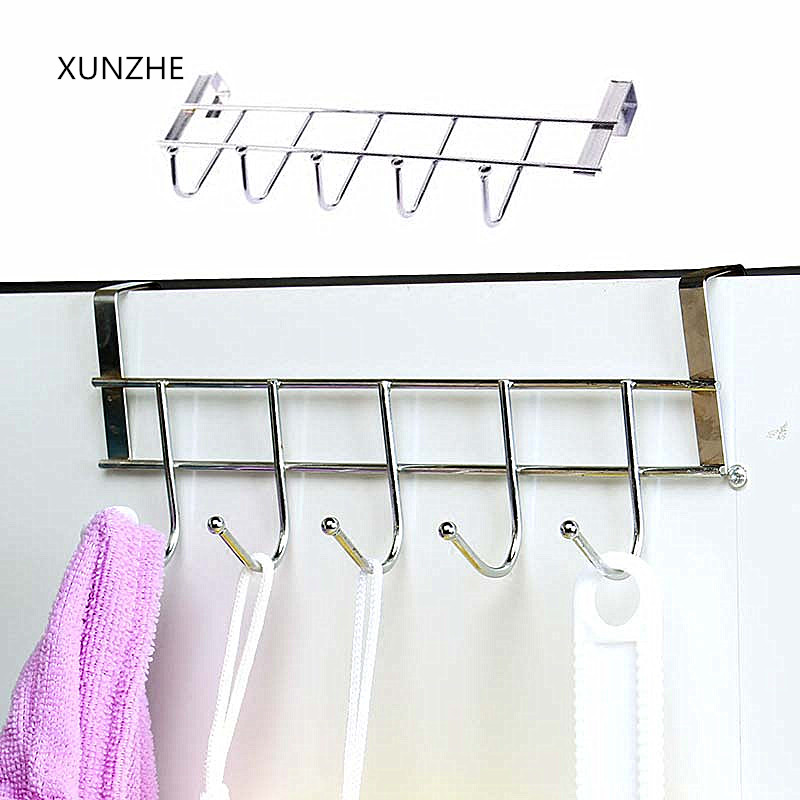 XUNZHE 1Pcs Nail-free Stainless Steel Five-hook Cabinet Door Back By Hanger Towel Hooks Over Door Hooks For Clothes Hangers