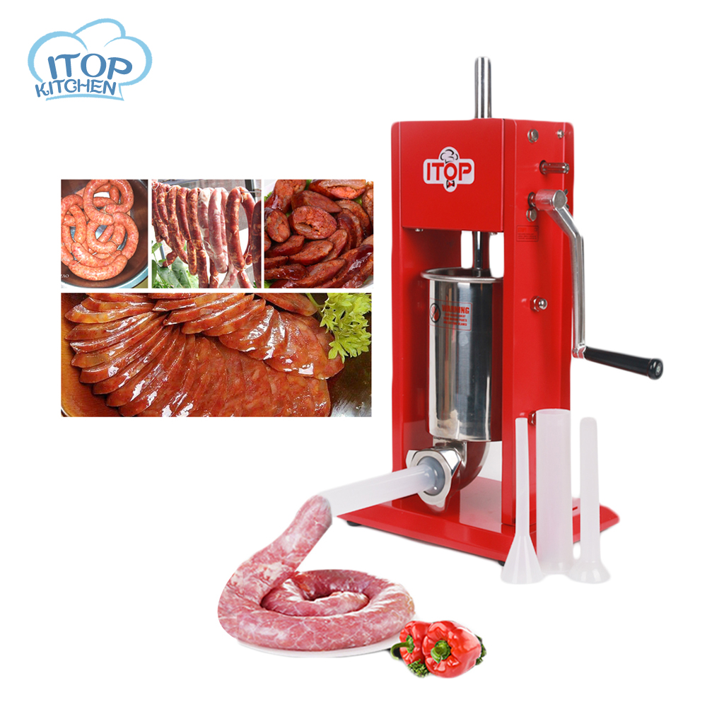 ITOP Commercial Manual Sausage Filler Food Stuffer Plastic Outlet 3L Double-speed Filling Machine
