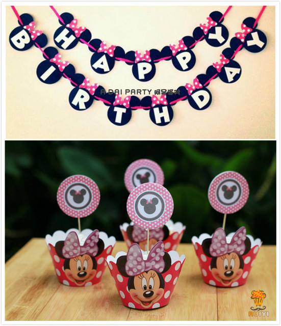 Minnie Mouse Party Bunting 1 Banner Favors Happy Birthday Decoration Cupcake Wrappersparty Giveaways