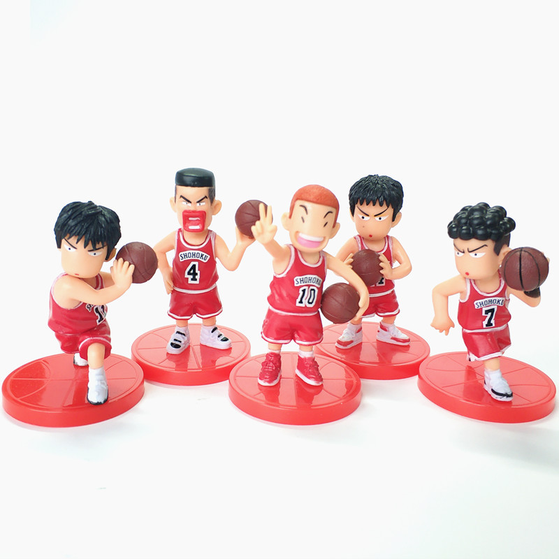 5Pcs/Lot SLAM DUNK Shohoku Basketball Player Figures Toys Hanamichi Rukawa Kaede Sakuragi Anime Model Toys image