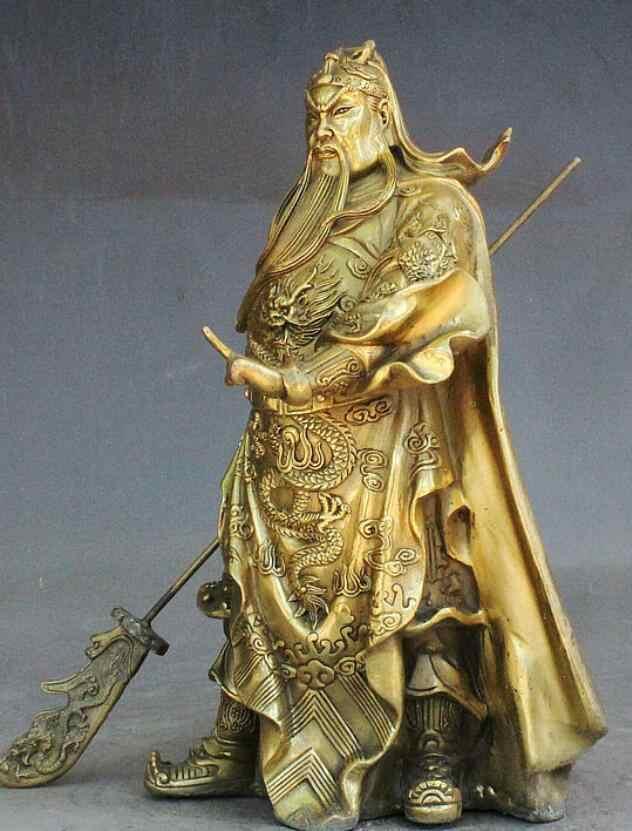 """Zhmui88002842367 + + 11 """"Народная китайская бронза guan Gong Yu Бог войны Guangong держать нож статуя"""