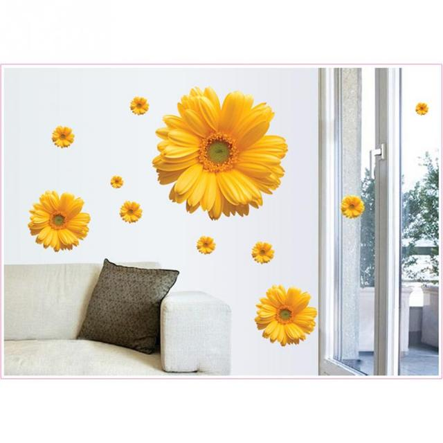 Free Shipping Yellow Pink Flowers Decorative Combination DIY Wall Sticker  Decor Chrysanthemum 3D Daisy Home Bedroom
