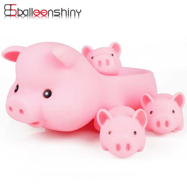 BalleenShiny 4 pcs/set Baby Bath Toys Cute Cartoon Animals Pink ...