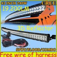 Free DHL UPS Fedex Ship 42 240W 19200LM 10 30V 6500K LED Working Bar 3D Reflector