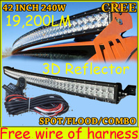 Free DHL UPS Fedex Ship 42 240W 19200LM 10 30V 6500K LED Working Bar 3D Reflector