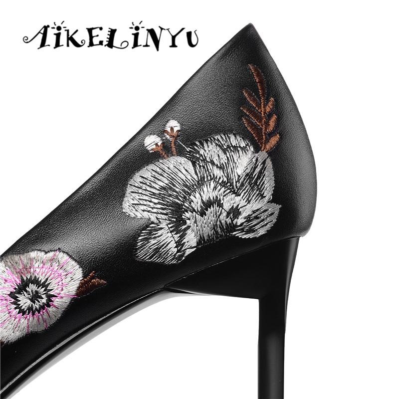 Pumpen Nackt High 2019 Heels Mode Aikelinyu Frauen Heel rosa Leder Echtem Beige Rosa Frau Schuhe Stickerei Hochzeit Damen schwarzes 7znOqxnSw