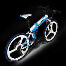 LANKELEISI 36V 26 inch electric bicycle 27 speed hidden lithium power folding mountain bike