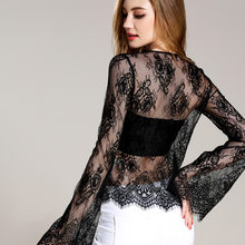 Women Sexy Flare Sleeve Lace Shirt 2018 Spring Summer New Hot Fashion Female Casual Solid Color Hollow Out Shirts Tops Blouses(China)