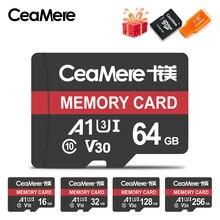 CeaMere karta Micro SD Class10 UHS 1 8GB klasa 6 16GB/32GB U1 64GB/128GB/256GB U3 karta pamięci pamięć Flash Microsd na smartfony