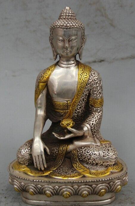 Free Shipping 8 Tibet Buddhism Silver Gilt Seat Lotus Shakyamuni Amitabha Buddha Bowl Statue R0710 (B0328)Free Shipping 8 Tibet Buddhism Silver Gilt Seat Lotus Shakyamuni Amitabha Buddha Bowl Statue R0710 (B0328)
