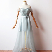 Grey Color Long Dress Short Inner Lining Bridesmaid Dresses Woman for Party and Wedding