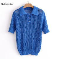 SheMujerSky Blue Women Knitted Blouse Polos Mesh Causal Shirt 2018 Summer Womens Tops Chemise Femme