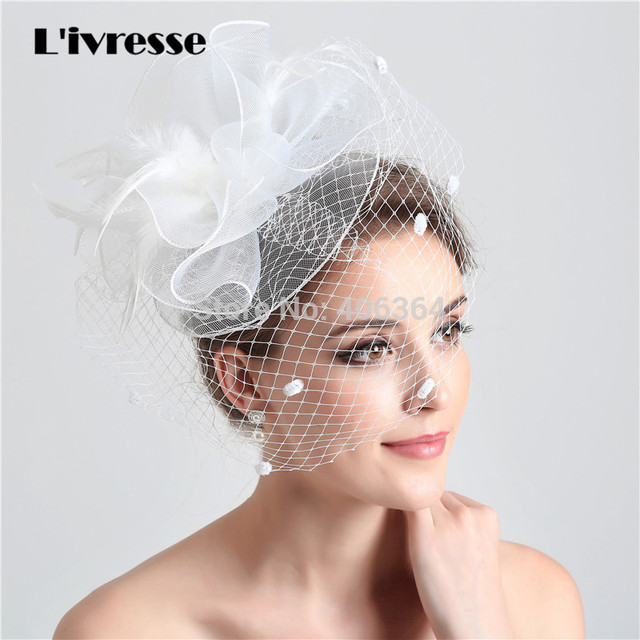White Birdcage Net Wedding Bridal Fascinator Face Veils Feather Flower with  Hairpins 5e8086ae6f1