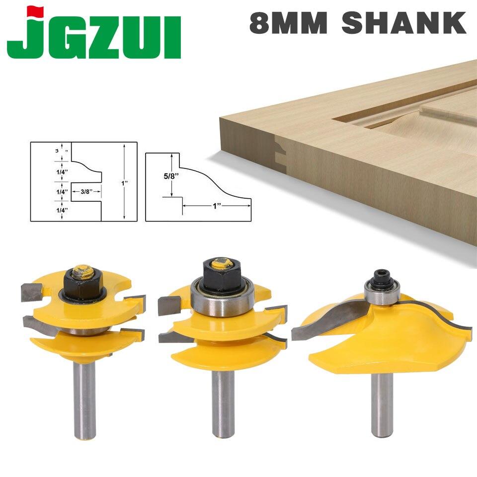 3PC 8mm Shank wysokiej jakości podniesiony Panel drzwi do szafki zestaw bitów rozwiertaków-3 Bit Ogee frez do drewna router do obróbki drewna bity