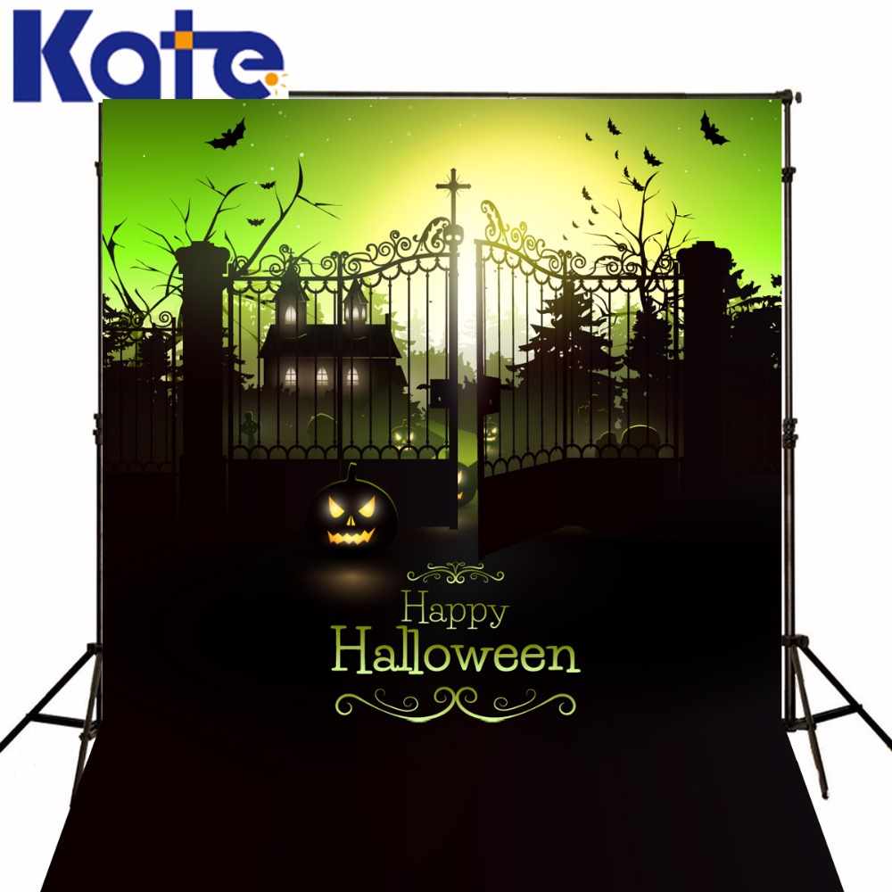 Kate Pumpkin Photography Backdrop Iron Gate Backdrop Photo Background Halloween Party Photography Background kate photo background scenery
