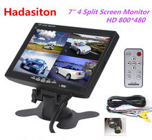 "7"" Headrest monitor 4 Split Screen Car Monitor 4 Channels input Use for Truck Bus Car Motorhome Boat and CCTV Security System(China)"