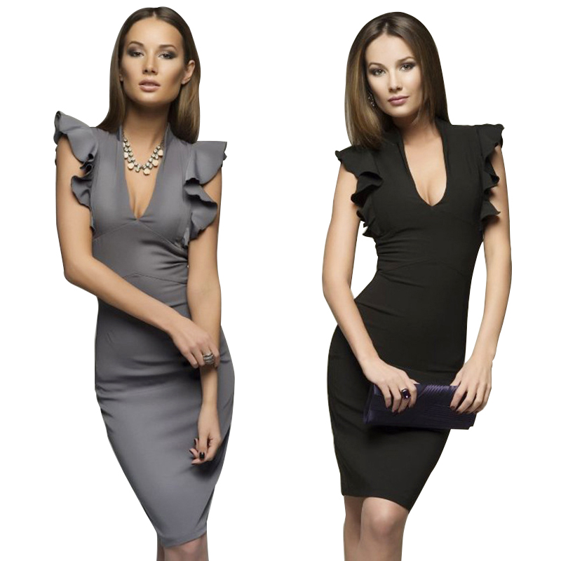 Women Deep V collar Sleeveless Elegant Ruffle Body con Party Dress Work Pencil Dress