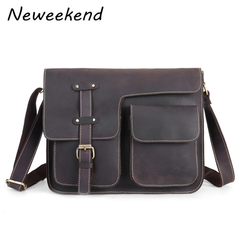 Neweekend Genuine Leather Fashion Men's Crossbody Shoulder Messenger Bag Portfolio For Men Male's iPad Handbag Vintage 1050