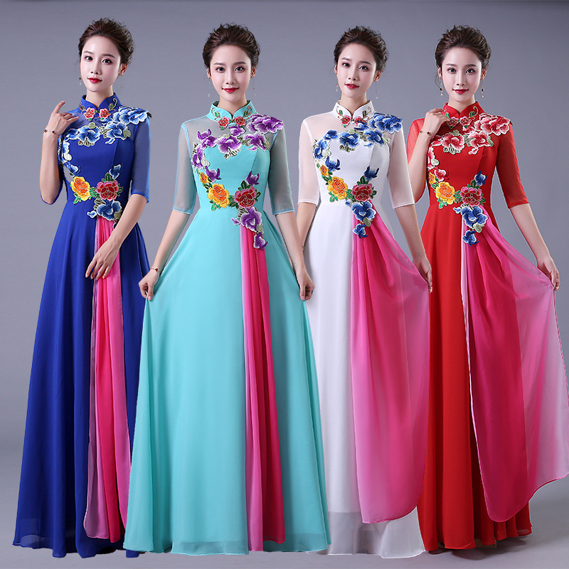 Vintage New Women Evening Party Gowns Elegant Flower Half Sleeve Cheongsam Chinese Female Stage Show Qipao Plus Size Dress 3XL