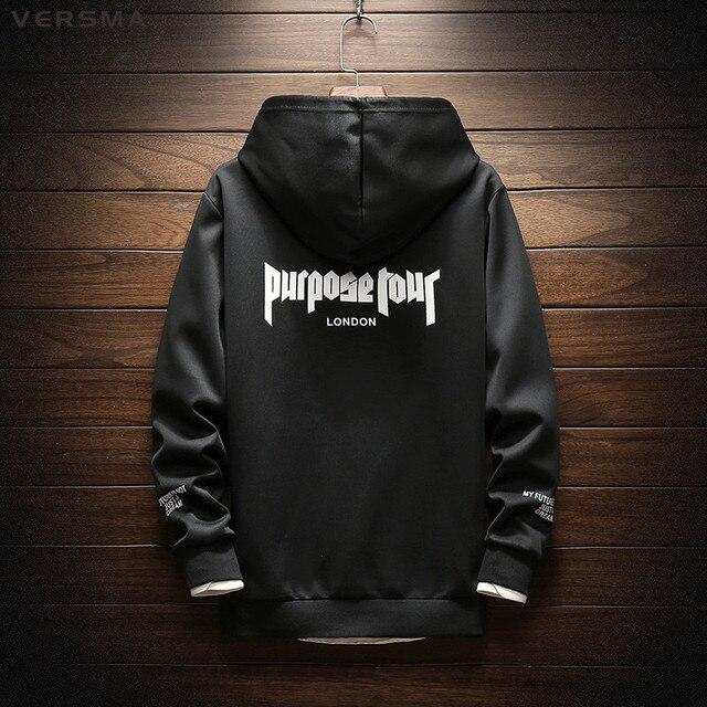 VERSMA 2018 Autumn Justin Bieber Purpose Tour Oversized Hoodie Sweatshirt  Men High Street Hip Hop Instagram Harajuku Hoodies Men 06dbdc0b5