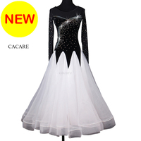 Ballroom Dance Competition Dresses Flamenco Standard Dance Dresses Waltz Tango White D0263 Rhinestones Big Hem Long Sleeve