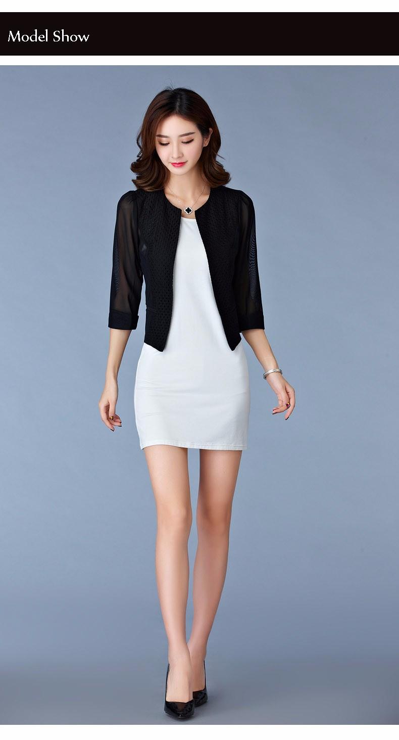 Women Black White Gauze Jacket Summer 2016 Chiffon Cardigan Sexy 34 Sleeve Plus Size Slim Jackets Office Lady Coat Tops A385  e