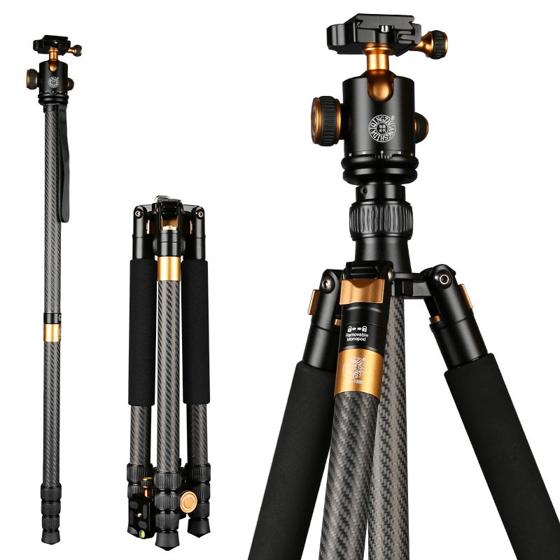 2016 New QZSD Q1088 Professional Carbon Fiber Tripod Monopod With Ball Head For DSLR Camera Portable Travel Camera Tripod Stand