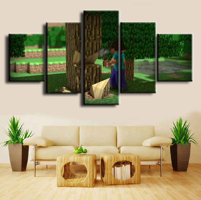Minecraft Game 5 Pieces Print Poster Canvas Painting Wall Art Living Room Modern HD Print Canvas Printed Game Poster Painting in Painting Calligraphy from Home Garden