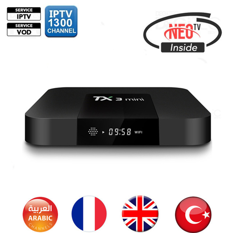 TX3 Mini Amlogic S905W Quad Core 2GB/16GB Android 7.1 TV Box with Neotv Arabic Europe French Iptv subscription channel amlogic s905w quad core android 7 1 tv box tx3 mini 2gb 16gb 1 year qhdtv pro account subscription europe french arabic iptv box