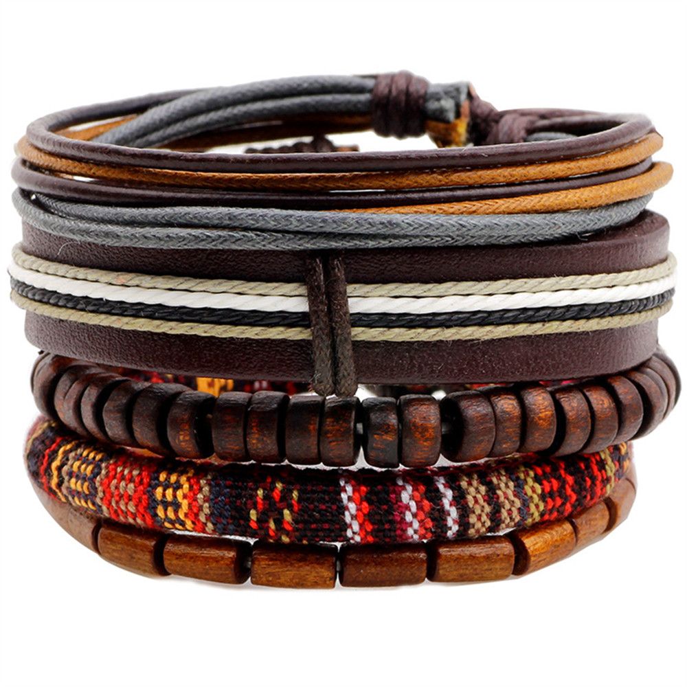 Ethnic 5 Pcs/set Wood Beads Charm Handmade Woven Men Leather Bracelets Women Vintage Bangle Male Homme Jewelry Accessories 1