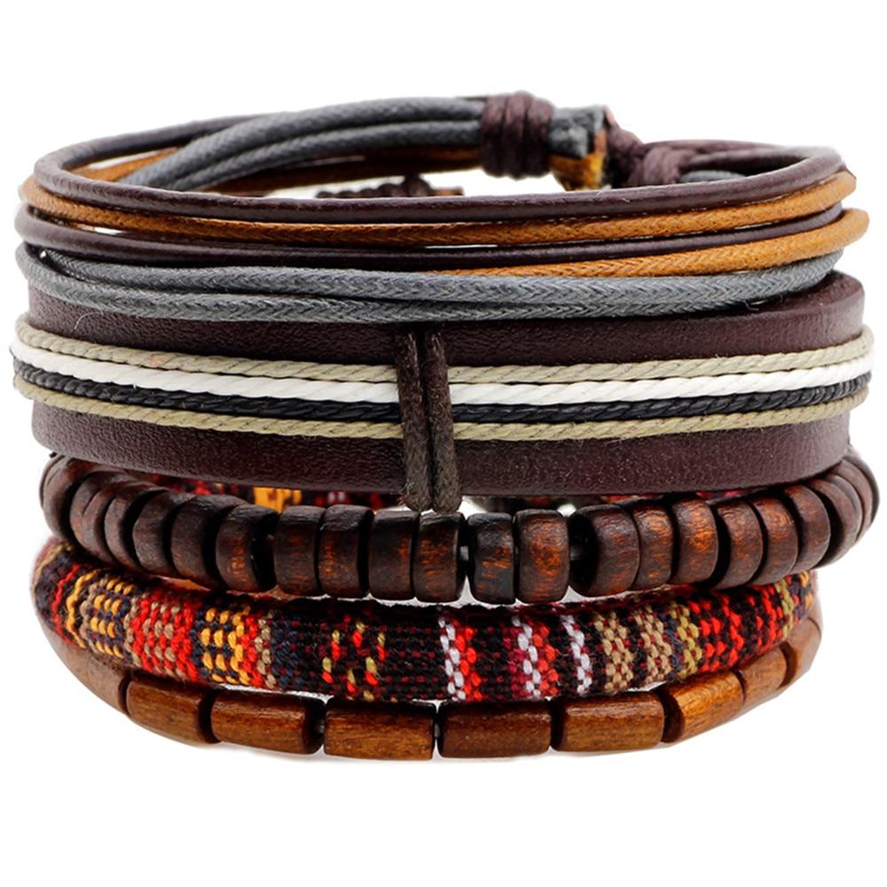Ethnic 4 Pcs/set Wood Beads Charm Handmade Woven Men Leather Bracelets Women Vintage Bangle Male Homme Jewelry Accessories