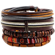 Ethnic 5 Pcs/set Wood Beads Charm Handmade Woven Men Leather Bracelets Women Vintage Bangle Male Homme Jewelry Accessories(China)