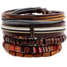 5 unids/set étnico de abalorios de Madera hechos a mano, pulseras de cuero tejidas para hombre, brazalete Vintage para mujer, accesorios de joyería para hombre