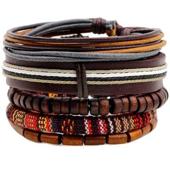 Ethnic 5 Pcs/set Wood Beads Charm Handmade Woven Men Leather Bracelets Women Vintage Bangle Male Homme Jewelry Accessories