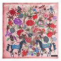 New Luxury Thickening Cashmere Soft Shawl Floral Horse Printing Pashmina Square Jacquard Foulards Cover-ups Scarves