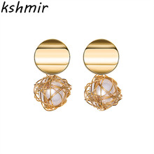Retro geometric earrings contracted Hollow circular eardrop Fashion pearl hanging round tennis 2018 Geometric statement