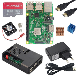 Original Raspberry Pi 3 B or Raspberry Pi 3B Plus Board with Built-in WiFi&Bluetooth + ABS Case + Power Supply + Heat Sink