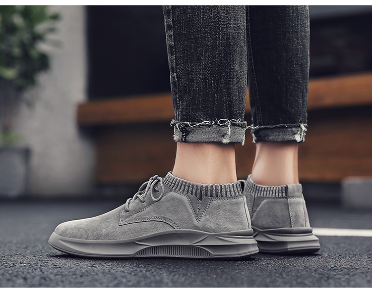 Casual Genuine Leather Suede Sneakers Unisex 9